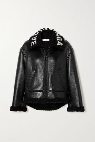 WOMEN BALENCIAGA Cropped faux shearling-lined leather jacket