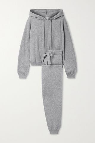 WOMEN ALLUDE Cotton and cashmere-blend hoodie and track pants set