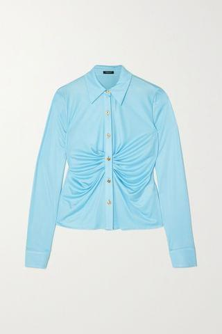 WOMEN VERSACE Ruched satin-jersey blouse