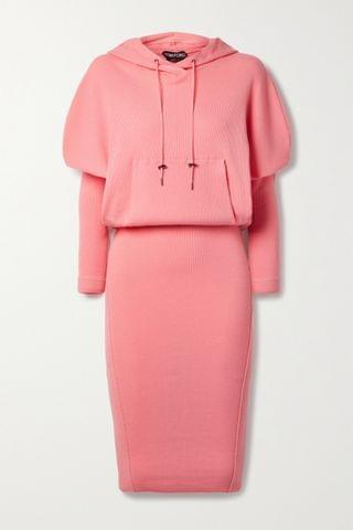 WOMEN TOM FORD Hooded ribbed cashmere-blend dress