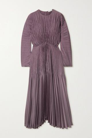 WOMEN VINCE Pleated crinkled-satin maxi dress