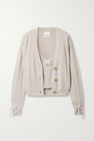 WOMEN ALLUDE Cropped cashmere cardigan and tank set
