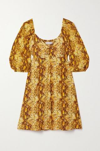 WOMEN FAITHFULL THE BRAND + NET SUSTAIN Martine snake-print crepe mini dress