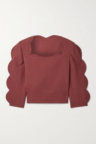 WOMEN ALA A Cropped scalloped stretch-knit top