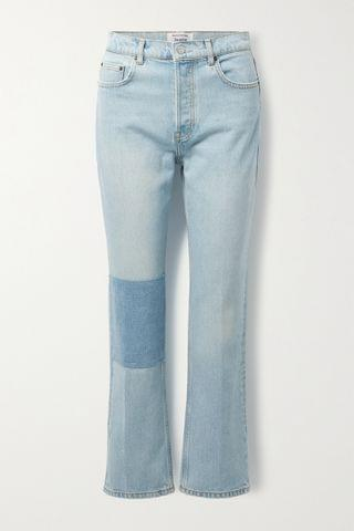 WOMEN REFORMATION + NET SUSTAIN Cynthia patchwork high-rise straight-leg jeans