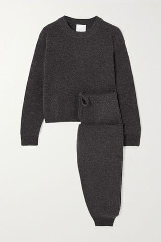 WOMEN ALLUDE Wool and cashmere-blend sweater and track pants set