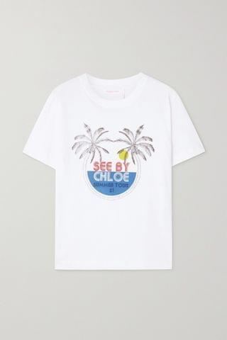 WOMEN SEE BY CHLO Printed cotton-jersey T-shirt