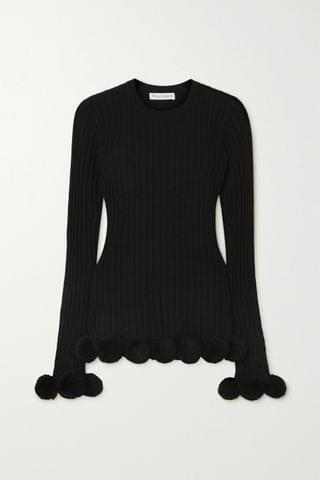WOMEN JW ANDERSON Pompom-embellished ribbed wool sweater