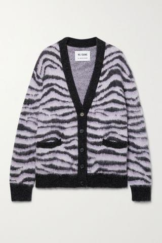 WOMEN RE/DONE 90s tiger-intarsia cardigan
