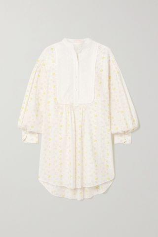 WOMEN SEE BY CHLO Floral-print broderie anglaise cotton-voile mini shirt dress