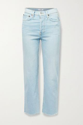 WOMEN RE/DONE + NET SUSTAIN 70s Stove Pipe Comfort Stretch high-rise straight-leg jeans