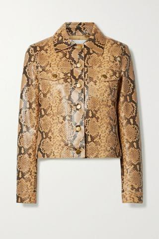 WOMEN MICHAEL KORS COLLECTION Snake-effect leather jacket