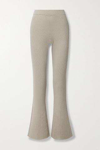 WOMEN ALLUDE Ribbed cotton and silk-blend flared pants