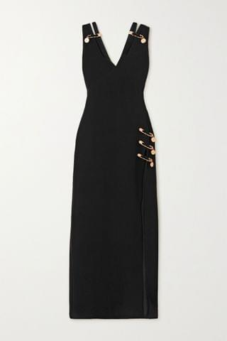 WOMEN VERSACE Embellished cutout silk-crepe gown