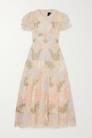 WOMEN NEEDLE & THREAD Elin Blossom sequin-embellished embroidered tulle midi dress