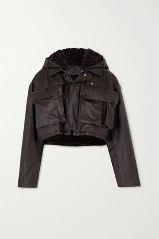 WOMEN BOTTEGA VENETA Cropped shearling-lined coated-cotton jacket