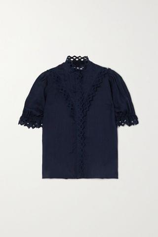 WOMEN FRAME Embroidered ramie blouse