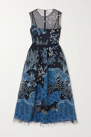 WOMEN REDVALENTINO Embroidered point d'esprit tulle and printed crepe midi dress