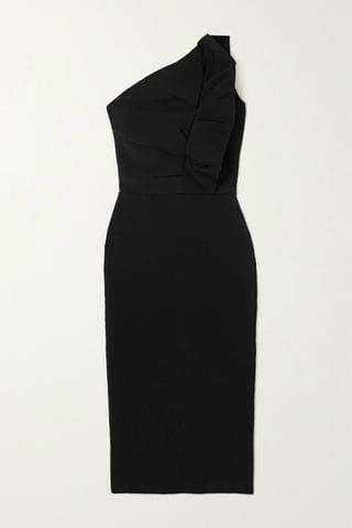 WOMEN ROLAND MOURET Raven one-shoulder ruffled stretch-knit midi dress
