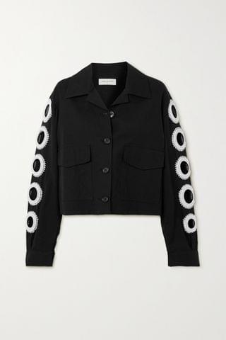 WOMEN DRIES VAN NOTEN Vokar cropped bead-embellished cutout cotton-blend jacket