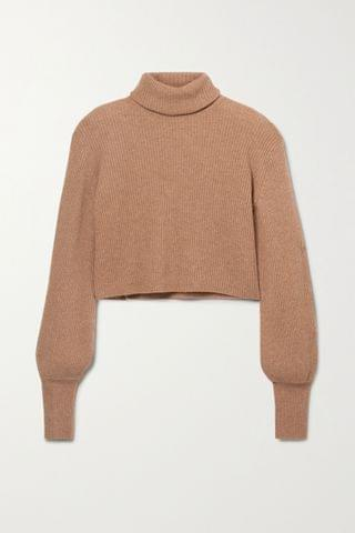 WOMEN REFORMATION Luisa cropped ribbed recycled cashmere-blend turtleneck sweater