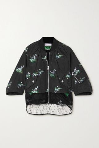 WOMEN REDVALENTINO Layered embroidered taffeta and point d'esprit tulle jacket