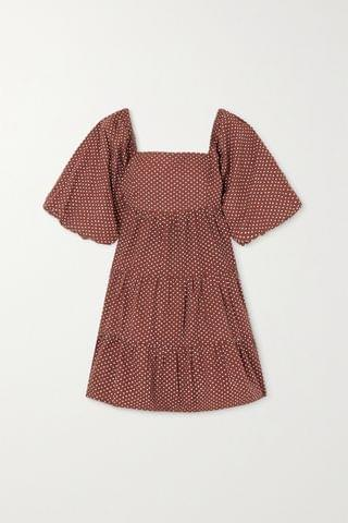 WOMEN FAITHFULL THE BRAND + NET SUSTAIN Eryn tie-back polka-dot cotton-poplin mini dress