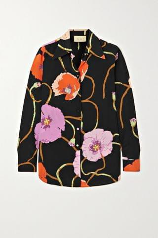 WOMEN GUCCI + Ken Scott floral-print silk crepe de chine shirt