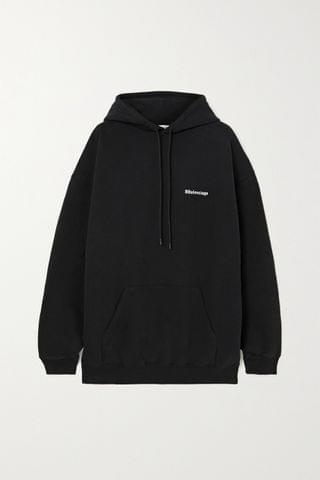 WOMEN BALENCIAGA Oversized embroidered cotton-jersey hoodie