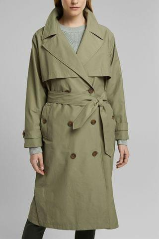 WOMEN Esprit Green Belted Relax Trench Coat
