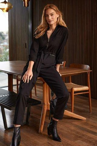 WOMEN Mint Velvet Black Zip Cotton Boilersuit