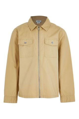 KIDS River Island Stone Zip Through Twill Overshirt