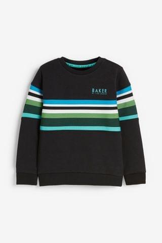 KIDS Baker by Ted Baker Striped Panel Crew Neck Sweater