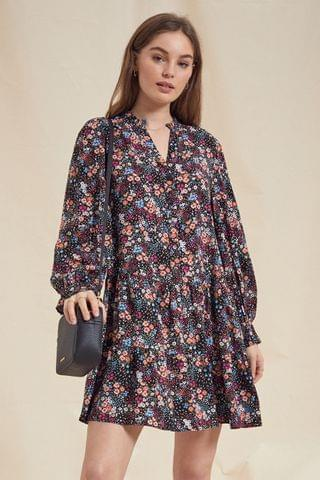 WOMEN Love & Roses Button Through Tiered Smock Dress