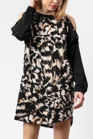 WOMEN Religion Tunic Dress In Animal Print With Button Details