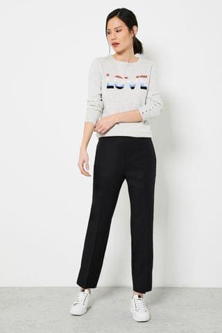 WOMEN Mint Velvet Black Popper Capri Trousers
