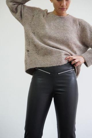 WOMEN Religion Faux Stretch Black Leather Trousers With Zip Details