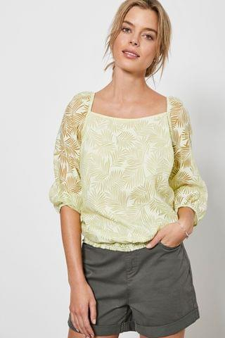 WOMEN Mint Velvet Yellow Palm Burnout Square Neck Top