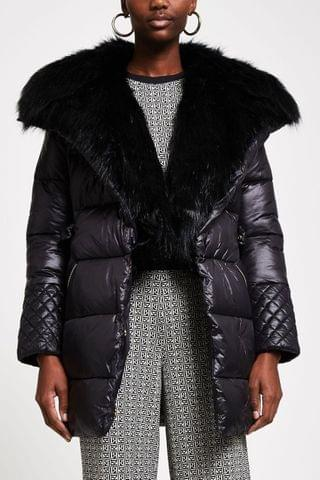 WOMEN River Island Black Faux Fur Front Padded Trench Coat