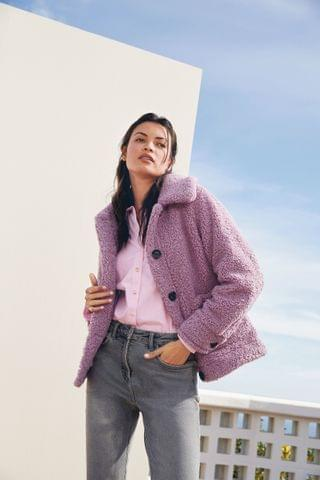 WOMEN Lilac Teddy Button Up Coat