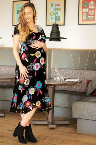 WOMEN Frugi Black Floral Recycled Maternity Occasion Dress