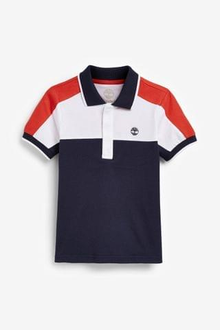 KIDS Timberland Navy Colourblock Logo Polo