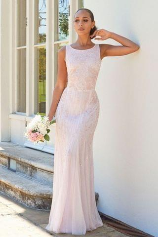 WOMEN Sistaglam Gracey High Neck Maxi Dress With Mesh Inserts
