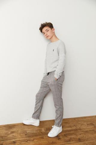 KIDS Multi Neutral Pull-On Check Trousers (3-16yrs)