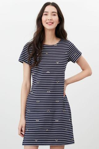 WOMEN Joules Blue Printed Dress With Short Sleeves
