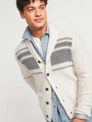 MEN Textured-Stripe Shawl-Collar Button-Front Cardigan Sweater for Men