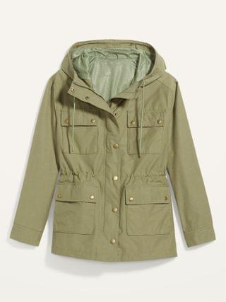 WOMEN Water-Resistant Canvas Hooded Utility Jacket for Women