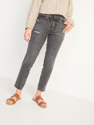 WOMEN High-Waisted O.G. Straight Ripped Black Ankle Jeans for Women