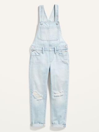 KIDS Ripped Light-Wash Jean Overalls for Girls