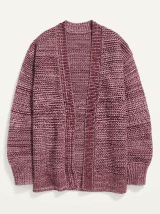 KIDS Open-Front Marled Pointelle Sweater for Girls